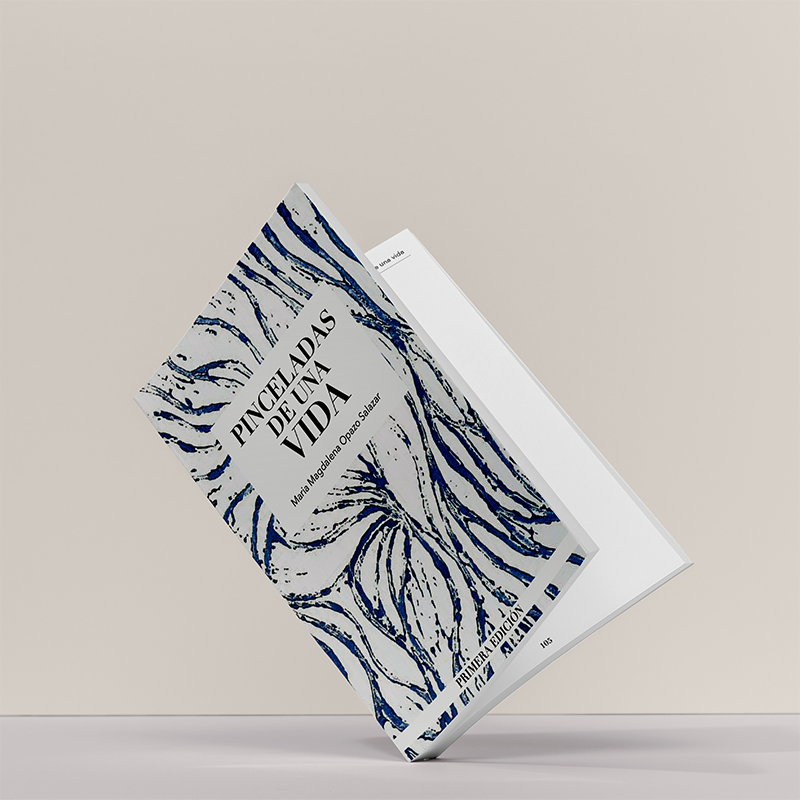 Book MockUp of Print Project. The book is a compilation of poems by María Magdalena Opazo Salazar, curated by her granddaughter. Link leads to the project's page.