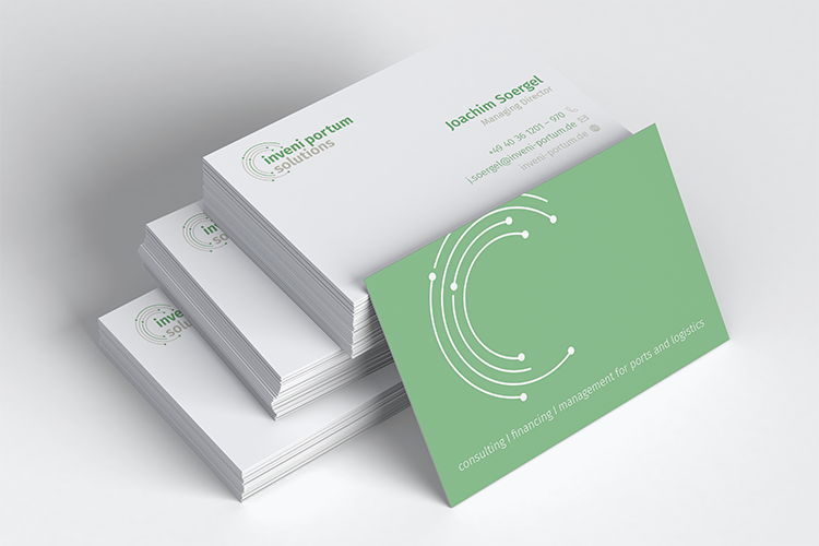 MockUp of the Inveni Portum Solutions business cards from brand development project. Link leads to the project's page.